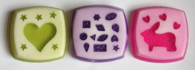 soap with cutouts of hearts, stars, rabbits, etc.