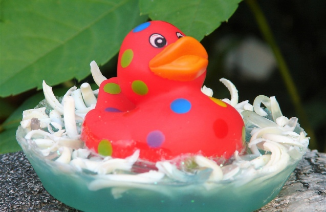 Kulina Alchemy, polka-dotted red rubber duckie soap